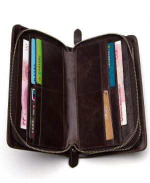 Double Zipper Male Wallet Men Purse