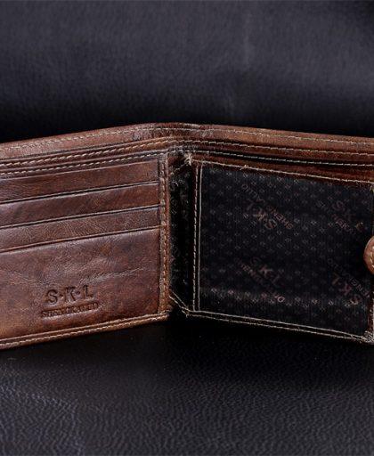 Leather Bifold Zipper Pocket Wallet