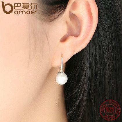 Love Pearl Drop Earrings silver