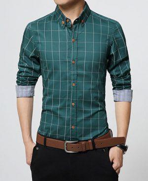 Men Clothes Slim Fit green