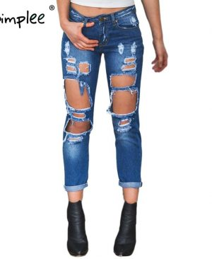 Hole ripped jeans women pants