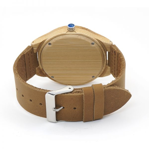 Bamboo Wooden Watch Leather Strap