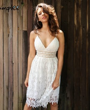 White lace dress Lined summer dress