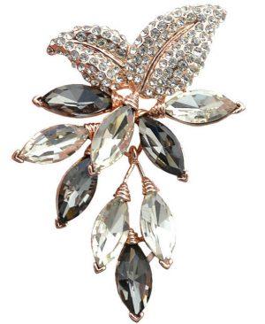 Crystal Flower Large Brooch Grape Pins