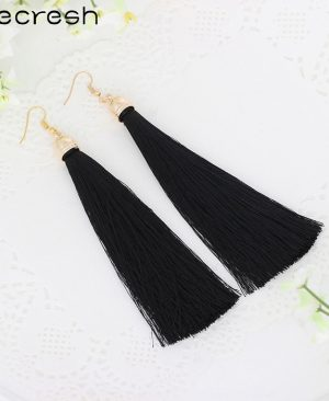 Fiber Long Tassel Earrings