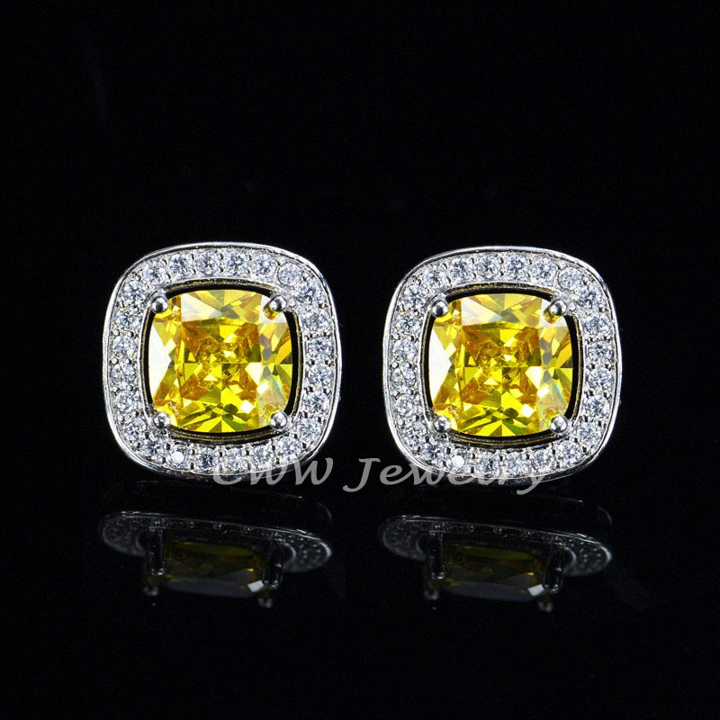 square solid stud shaped earrings mens diamond ctw in yellow gold white and