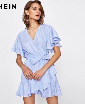 Wrap Striped Dress Ladies