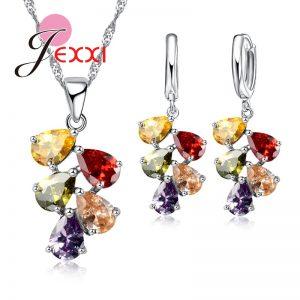 Silver Necklace Earrings