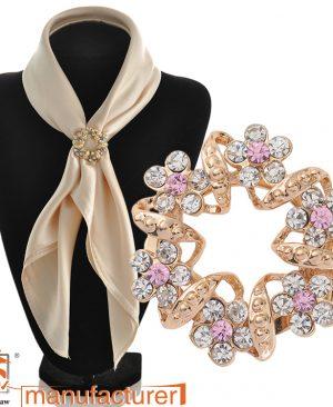 Fashion pink brooch jewelry scarf clip