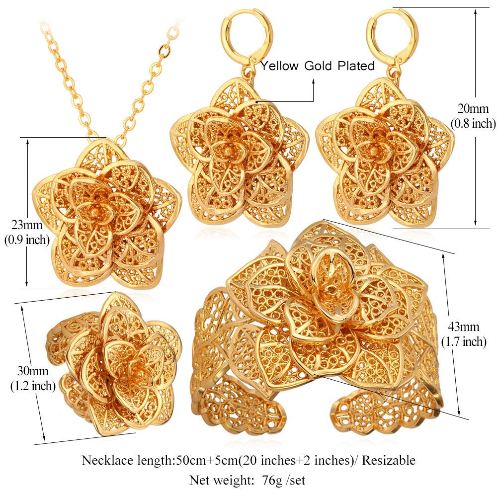Popular Vintage Big Flower Jewelry Sets Gold Color - Lalbug.com BB55