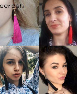 Fiber Long Tassel Earrings