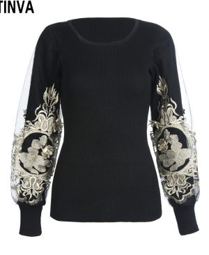 Embroidery Golden Pullover