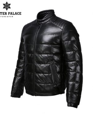 Collar leather jacket