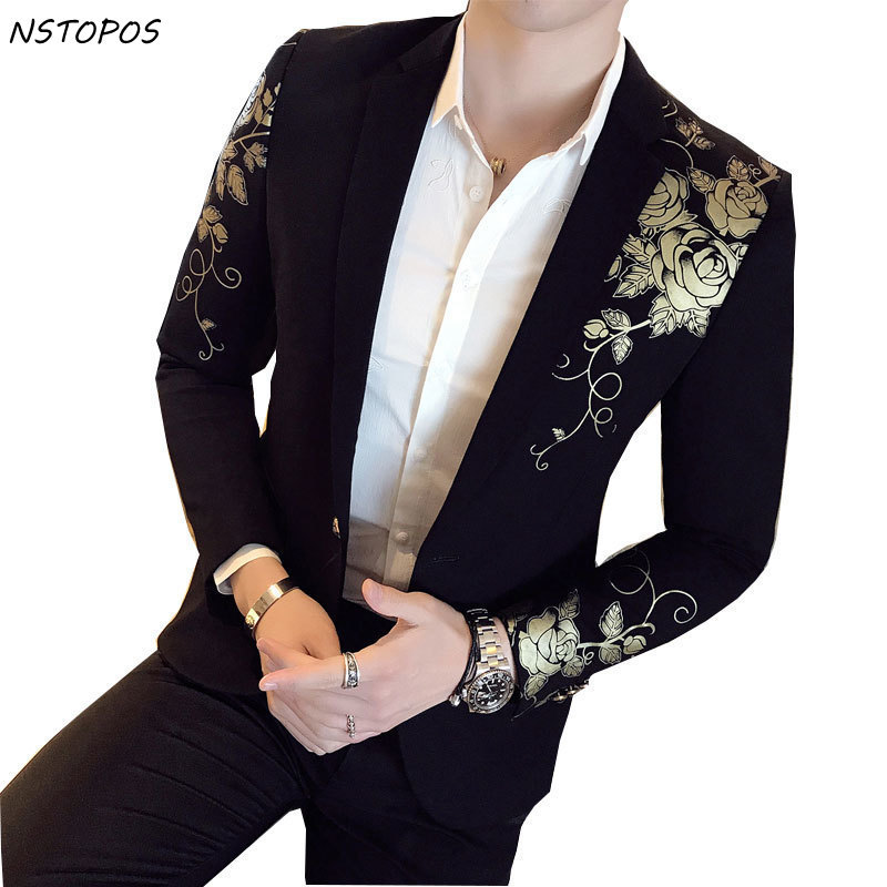 Gold Black Blazer Flower Gold Print Party Wedding Blazers