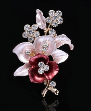Crystal Flower brooches