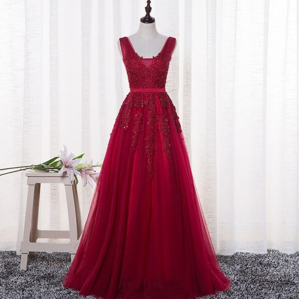 A-line Prom Dresses Long Appliques Prom Dress