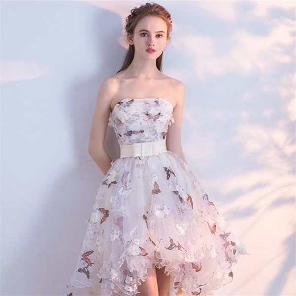 Strapless Pleat Lace Flowers Taffeta Prom Gown
