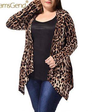 Woman Leopard Print Long Sleeve Cardigan Coat