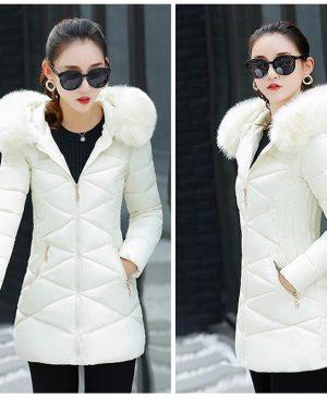 Winter Jacket Hooded Warm Coat Slim Fur Collar