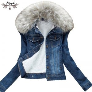Winter Fur Collar Denim Jackets Parka Outerwear