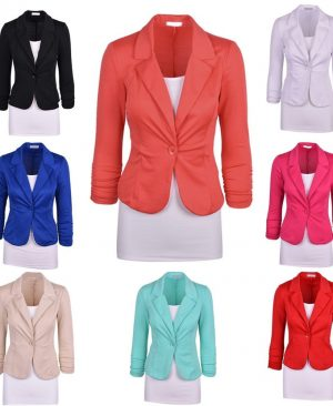 Women Solid Suit Jacket Coat One Button Outwear