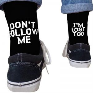 Word Printed Socks Basket Ball Socks Unisex Crew