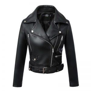 Black Faux Leather Jackets Zipper Basic Coat