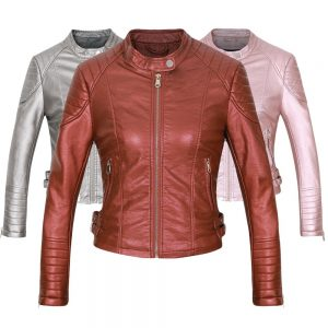 Faux Leather Biker Jacket Motorcycle Leather Coat