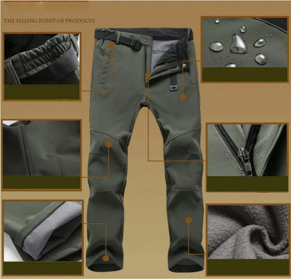 Waterproof Casual Pants Fleece Shark Skin Trousers