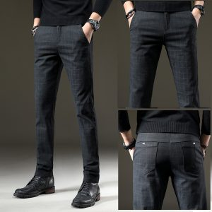 Men Casual Pants Elastic Long Trousers