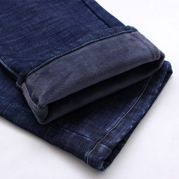 Warm Men's Jeans Thick Stretch Denim Jeans
