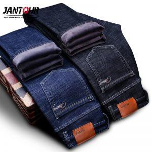 Warm Men's Jeans Thick Stretch Denim Jeans
