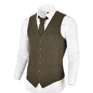 Wool Tweed Men Waistcoat Single-breasted Vests