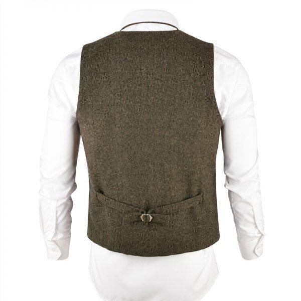 Wool Tweed Men Waistcoat Single-breasted Vests