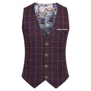 Man Fashion Suit Vest Male Plaid Suit Waistcoat