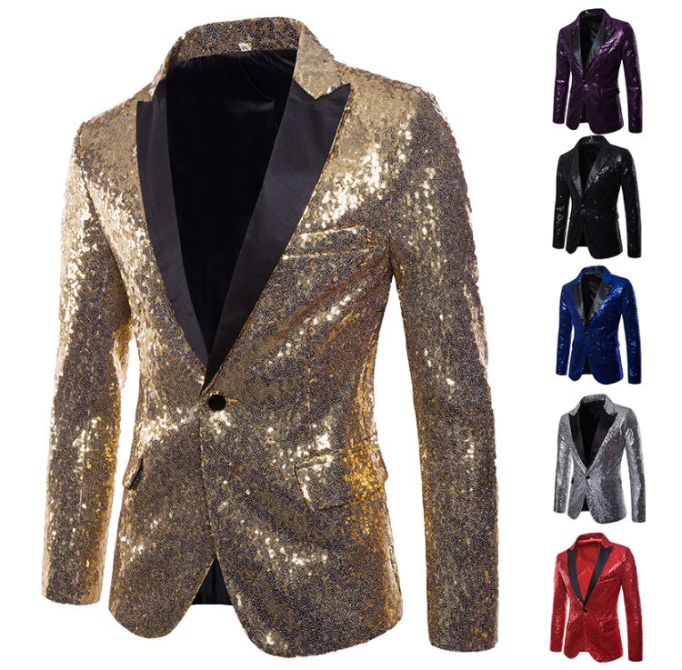 Glitter Embellished Blazer Jacket Nightclub Prom Suit