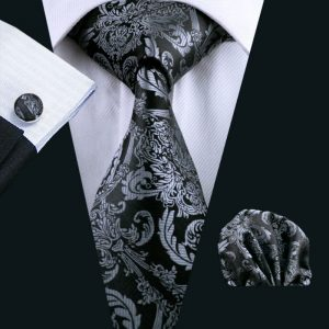 100% Silk Classic Ties Mens Tie Black Paisley