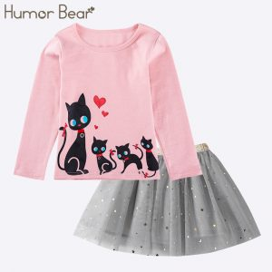 Baby Girl Clothes Cartoon Sequins Cat Girls Suits