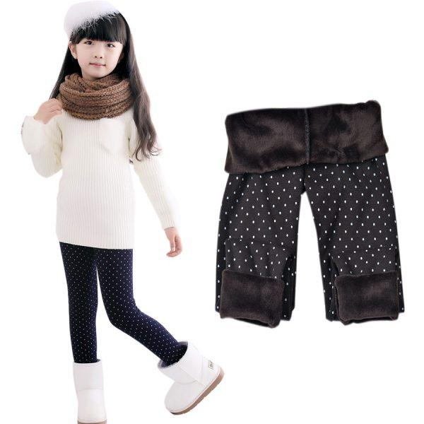 Warm Pant Girls Kids Trousers Print Legging