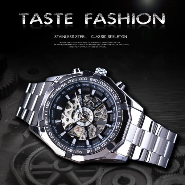 Men Skeleton Watches Transparent Mechanical Watch