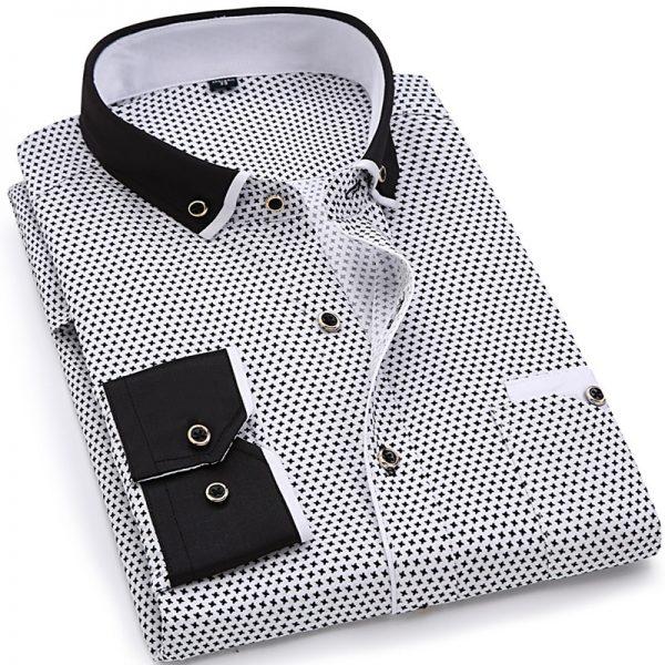 Fashion Print Casual Shirts Men Long Sleeve Shirt