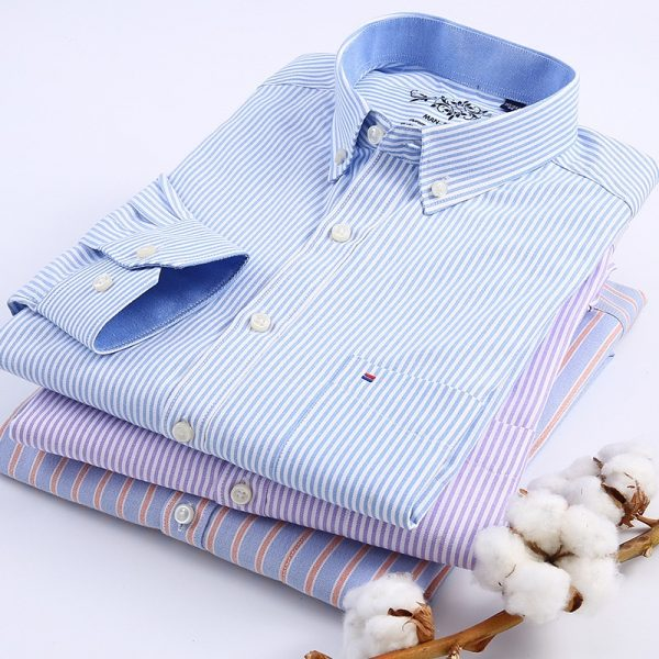 Regular Plaid Shirt Striped Shirts Men Dress