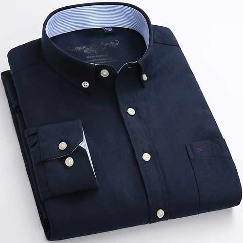 Solid Oxford Dress Shirt Casual Regular Shirts