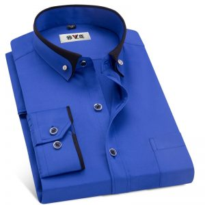 Men Business Dress Shirts Formal Collar Shirt