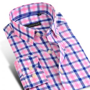 Fashion Plaid Cotton Shirt Men Casual Shirts
