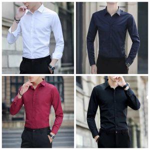 Men Business Dress Long Sleeved Shirt Casual Shirts