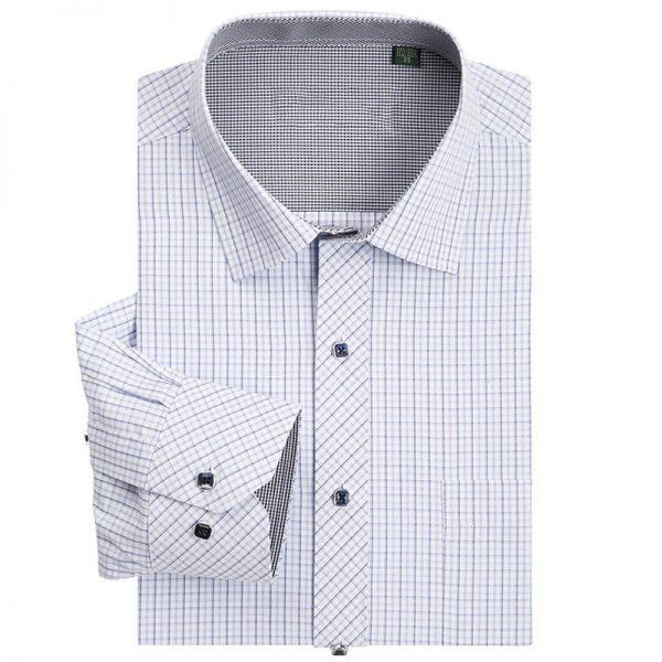 Men Classic Plaid Shirt Long Sleeve Dress Shirts