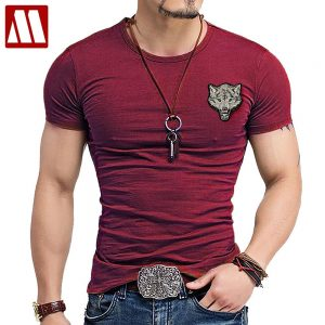 Wolf embroidery Tshirt Cotton Short Sleeve T Shirt