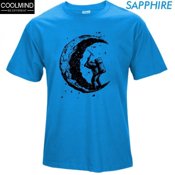 100% Cotton Gigging the Moon Print T-shirt