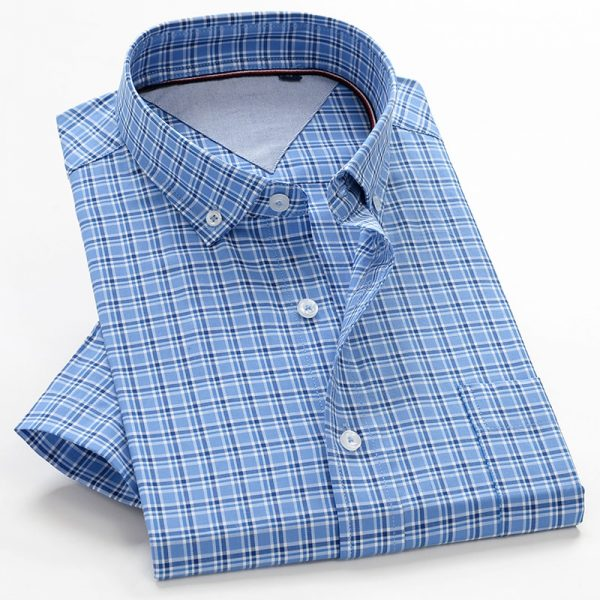 Summer Shirts Men 100% Cotton Short Sleeve Shirt
